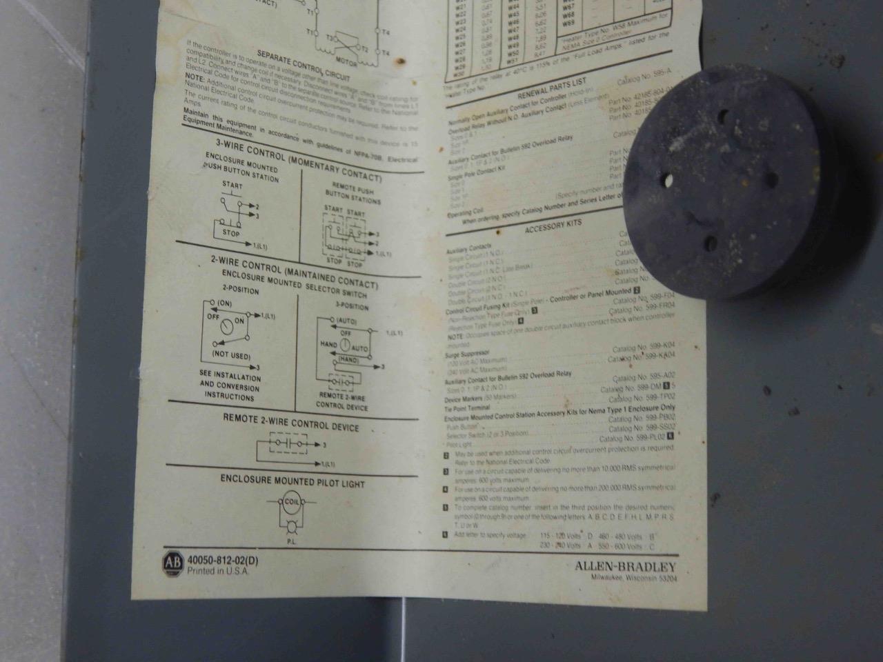 #320 Allen Bradley Bul 509 Single Phase Magnetic Controller 509-AAXD Starter