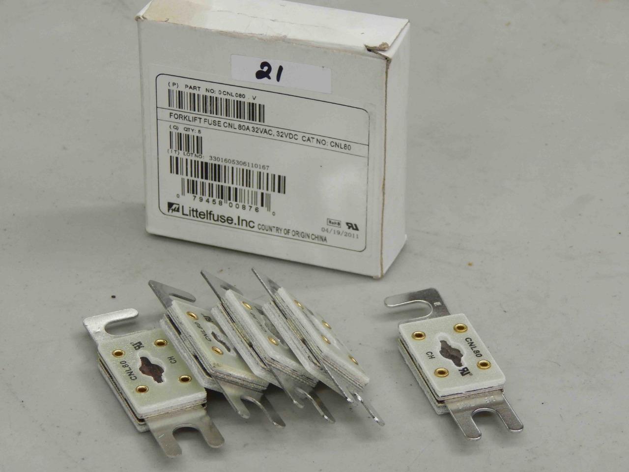 21 Lot Of 5 Littelfuse Cnl80 Forklift Fuse 80a 32vac 32vdc New Fuses Types Mc Sales Llc