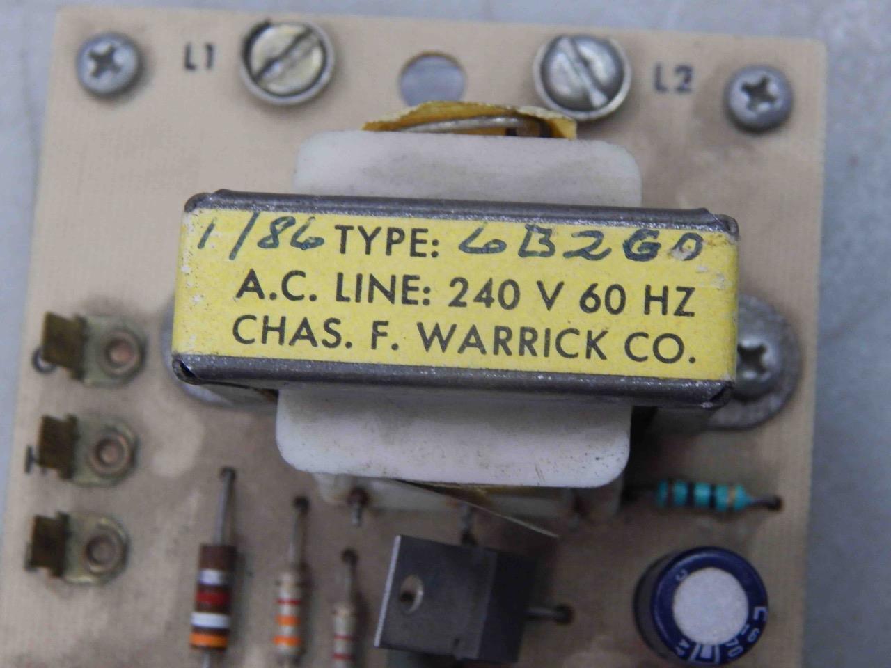 #920 Warrick Controls 6B2G0 240V Liquid Level Control PC Circuit Board  Module