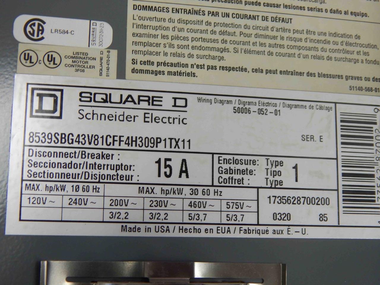 322 Square D 8536sbo2h309s Ser A 8539sbg43v81cff4h309p1tx11 E Combination Motor Controller Wiring Diagram